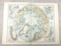 1895 Map of The North Pole Polar Region Greenland Old Antique 19th Century Large