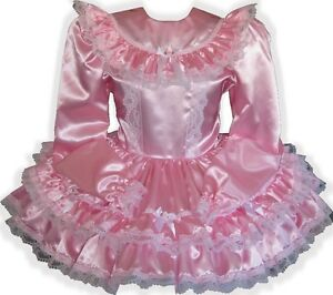 """Melanie"" CUSTOM Fit Pink Satin Long Sleeve Adult Little Girl Sissy Dress LEANNE"