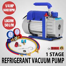 AC REFRIGERATION KIT A/C MANIFOLD GAUGE AIR VACUUM PUMP HVAC COMBO 1.8CFM ¼ HP