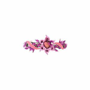 Caravan Pink-Purple Flower Heart Swarovski Barrette Model No. 2841 Brand New