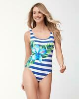 Tommy Bahama Womens Hibiscus Laced-Back Tank One-Piece Swimsuit (Royal,10)