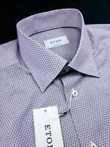 Eton Contemporary Fit Polka Doted Red Pink Dress Shirt Medium 16 - 41 $260
