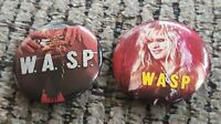 2 pin lot WASP W.A.S.P. MUSIC BAND BUTTON VTG ANIMAL F LIKE A BEAST Chris Holmes