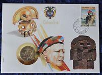Numisbrief - Kolumbien / Colombia - mit 10 Pesos Münze - 1985 - + Briefmarke