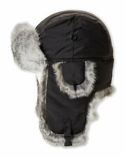 Bloomingdale's Men's Rabbit Fur Winter Bomber Hat, Black Large - NEW