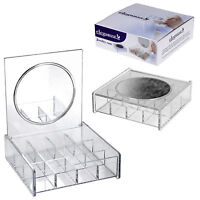 Acrylic Clear 12 Compartment Jewellery Case Earrings Box With Vanity Mirror Gift