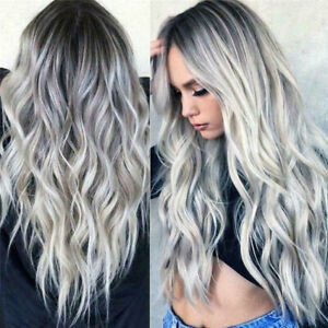 """28"""" Ladies Grey Silver Long Curly Wigs Womens Ombre Party Wavy Hair Cosplay Wig"""