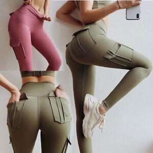 Womens Compression Cargo Yoga Pants Pockets High Waist Slim Fit Workout leggings