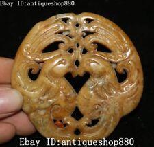 Naturel vieux jade Feng Shui Phoenix oiseau Feng Shui amulette Statue Pendentif