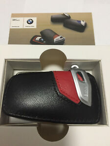 Genuine Style Leather Red Key Holder Cover Case For BMW 1 2 3 5 7 X1 X3 F30 F10