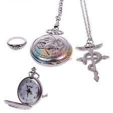 Hot Retro Cosplay Costumes Fullmetal Alchemist Pocket Watch+Necklace+Ring Set CA