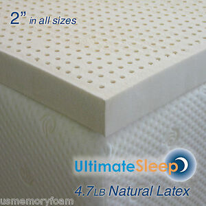 "NEW 2 Inch 100% Natural Latex Mattress Pad Topper - Twin 38"" x 75"", 3 Densities"