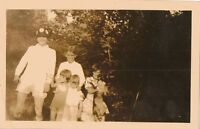 Vintage Antique Photograph Man Wearing Crazy Hat and Children With Puppy Dog