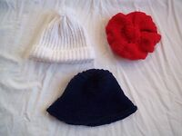 Lot 3 Girls Vintage 1970s Red White Blue Hand Knit Crocheted Hats