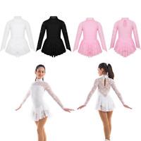 Girls Kids Lace Floral Ice Skating Ballet Leotard Dress Bodysuit Unitard Costume