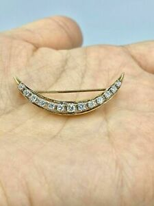 Antique 2Ct Round Cut Diamond 14k Yellow Gold Over Moon Brooch Pin