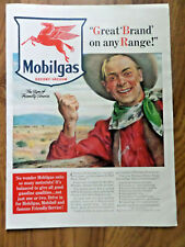 1940 Mobil Oil Gas Ad Cowboy  Great Brand on any Range 1940 Libby's Juice Ad