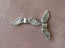 15 Angel Wings Connector Bird Feather Wing Charm Tibetan Silver Charms for Jewel