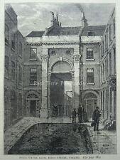 London THE STRAND, ESSEX STREET, ESSEX WATER GATE  Original Victorian Print 1878