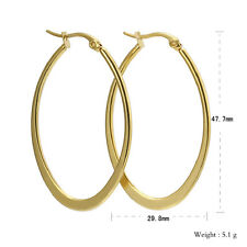 Fashion Classic Gold Women Stainless Steel Big Oval Hoop Earrings Anti Allergic