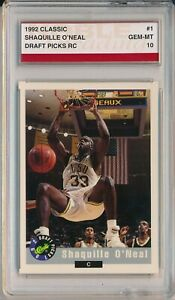 1992 Classic Draft Shaquille O'Neal RC Rookie # 1 Noble Grading Gem Mint 10