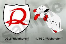aviation art luftwaffe pilot photo postcard colour WW2 JG 2 Richthofen emblems
