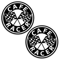 2 x CAFE RACER AUFKLEBER AUTO MOTO STICKERS ZIELFLAGGE MOTORRAD RENNEN  B 57