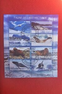 2013 CONGO  MINIATURE SHEE ANTARTIC ANIMALS WHALES SEALS SET OF 8 STAMPS CTO