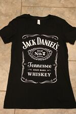 Jack Daniels Genuine Old No 7 Ladies Black T Shirt Bella SZ M New Free Fast Shpg