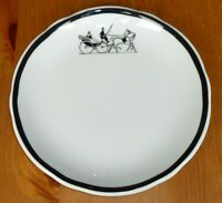 "Vintage Jackson China Restaurant Railroad Ware Plate 6-1/3"" Black Rim Carriage"