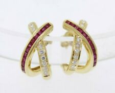 NEW 18k Yellow Gold .66ctw Ruby & .16ct Diamond Criss Cross Half Hoop Earrings
