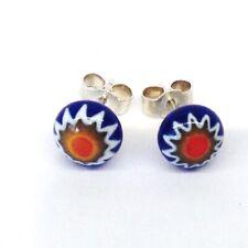 Murano Glass Millefiori Stud Earrings - Blue & Orange Starburst. Sterling Silver