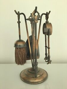 ART DECO Small Hearth Fireplace Tool Set, Made in England, copper and  black