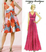 NEW Butterick 5490-V Neck Midriff Band Above Knee or Evening Dress Pattern 8-14