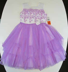 Jona Michelle Youth Girls Sz 12 Party Dress Ivory Lilac Layered Holiday NWT