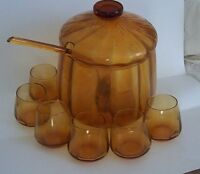 Blown Amber Glass Covered Punch Bowl Set w/Glasses & Ladle Mid Century