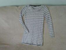 Womens Size 10 - Light Grey/Black Long-Sleeve Top - Dorothy Perkins