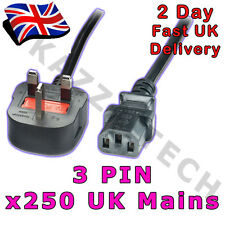 100 X Kettle 3-pin Power Cord Mains Cable Lead UK Plug 1.8m 5a Fused IEC