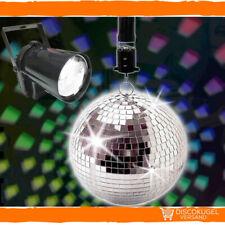 Discoset: Spiegelkugel Set 20cm mit Batteriemotor und LED-Strahler