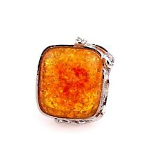 Nice New Fashion Jewelry Square Golden Amber Color Silver Ring Size Adjustable