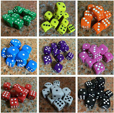 Set of 10 Six Sided Square Opaque 16mm D6 Dice Portable Table Games Party Tool