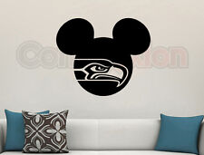 Mickey Mouse Seattle Seahawks Wall Vinyl Decal Matte Black Room Cutout Decor 23""