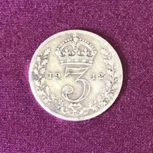 1912 Silver 3d Threepence George V - 92.5% silver