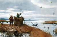 Hunters Black Lab Duck Hunting by Aiden Lassell Ripley