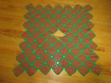 """Red & Green CROCHETED GRANNY SQUARE TREE SKIRT or TABLE COVER - 40"""" x 42"""""""