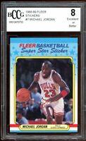 1988-89 Fleer Stickers #7 Michael Jordan Card BGS BCCG 8 Excellent+