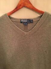 Polo Ralph Lauren Men's Green Long Sleeve V-Neck Cotton Sweater, XL