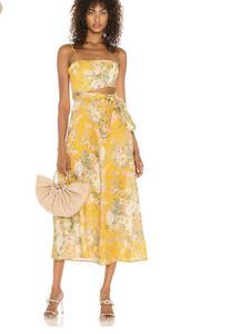 NEW Zimmermann Amelie floral linen boho midi cutout dress 2 M $640