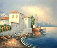 "Mediterranean Scene, 24""x20"" Oil Painting on Canvas, Genuine hand painted"