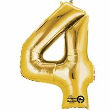 "Number 4 Gold Foil Balloon 16"" 40cm Air Fill Age Name Birthday Anniversary"